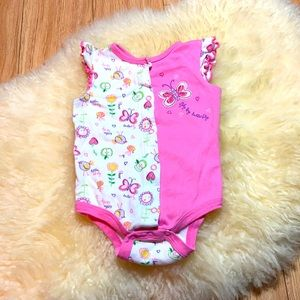 Pink and White Cap Sleeve butterfly onesie